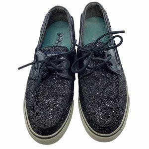 Sperry loafers black sparkles Sz 7